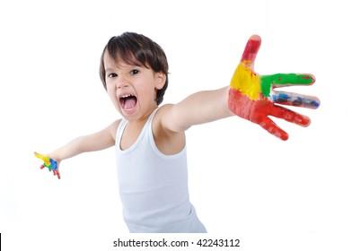 Messy hands, childhood