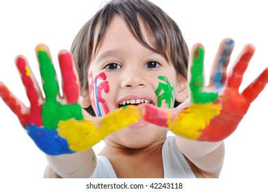 Messy hands, childhood