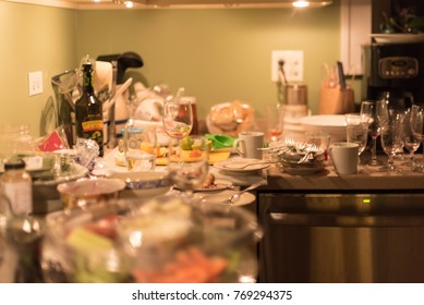 Messy kitchen and dirty dishes - post holiday entertaining