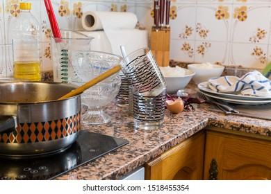 Messy kitchen in domestic household - Compulsive Hoarding Syndrom