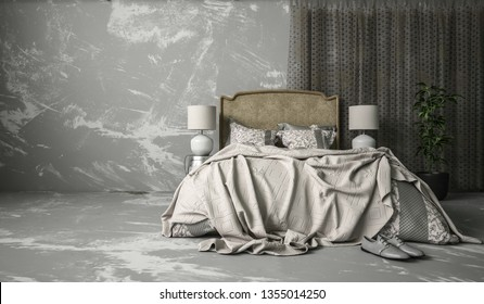 Messy modern bedroom interior with rumpled bed in monochromatic grey with marbled effect floor and wall. 3d render