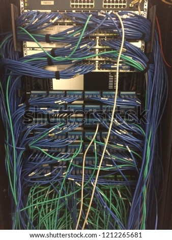 Superb Messy Network Cabling Switch Router Cabinet Stock Photo Edit Now Wiring 101 Mecadwellnesstrialsorg