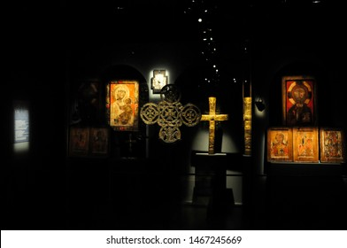 Mestia, Georgia - July 04 2016: Religious artefact, crucifix and icon exhibit at the Svaneti Museum of History and Ethnography.