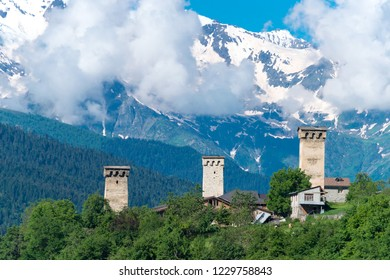 Mestia, Georgia - Jun 21 2018: Ancient towers at Mestia town. a famous landscape in Mestia, Samegrelo-Zemo Svaneti, Georgia.