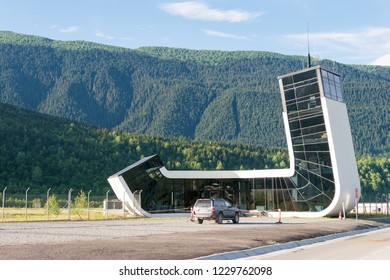 Mestia, Georgia - Jun 23 2018: Queen Tamar Airport in Mestia, Samegrelo-Zemo Svaneti, Georgia.