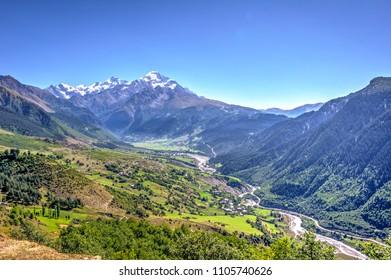 Mestia valley in summer  in Svaneti, Georgia