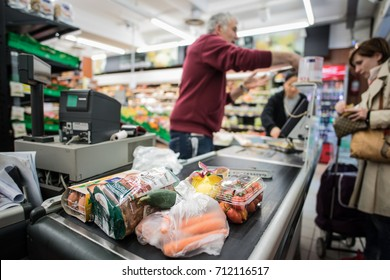 MESTRE, ITALY - CIRCA 2017: Detail of shopping in the cashier of a supermarket circa 2017 in Mestre.