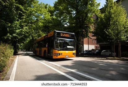 MESTRE, ITALY - CIRCA 2017: A passenger bus in the street circa 2017 in Mestre.