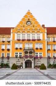Mestsky urad / Urzad miejski ( Town hall ), Cesky Tesin, Silesia, Czech Republic, Central Europe - orange building of municipality made in neo-renaissance style - Shutterstock ID 500974435