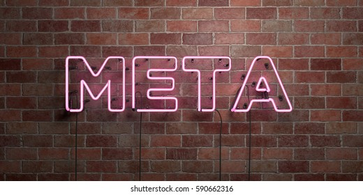 META - fluorescent Neon tube Sign on brickwork - Front view - 3D rendered royalty free stock picture. Can be used for online banner ads and direct mailers.