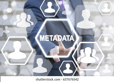 Metadata Business Digital Computer Internet Communication Social Network People Concept. Businessman touched icon meta data text on virtual screen.