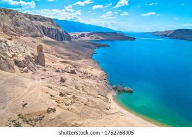 Metajna, island of Pag. Famous Beritnica beach in stone desert amazing scenery, Dalmatia region of Croatia