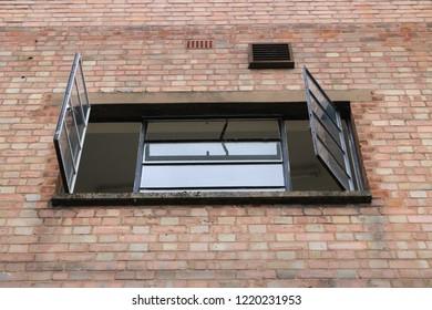 Metal 1930's rectangular window. Metal rectangular window from the 1930's in an English city.