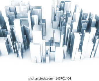 Metal 3d cubes abstract city scape model