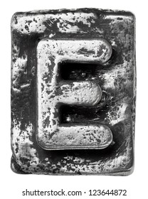 Metal alloy alphabet letter E