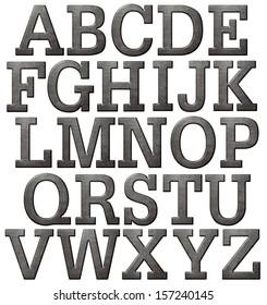 Metal alphabet made of dark steel