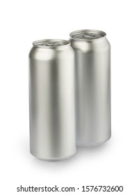 metal aluminum beverage drink cans isolated on white background. photography