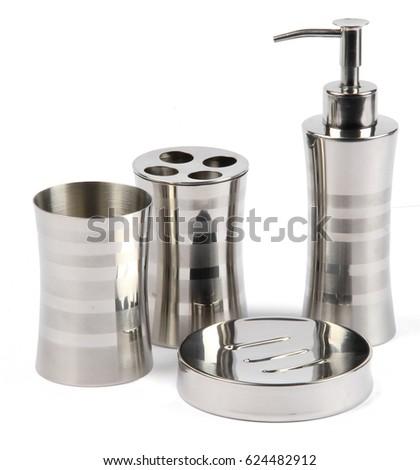 Metal Aluminum Silver Bathroom Accessories Toothbrush Stock Photo
