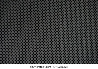 Metal background, black steel plate with holes