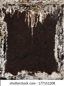 Metal background. Grunge rusty damaged frame. Painted metal with rust texture.