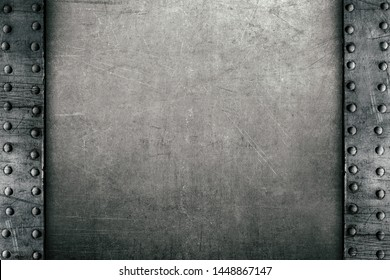 Metal background with rivets, old rusty frame