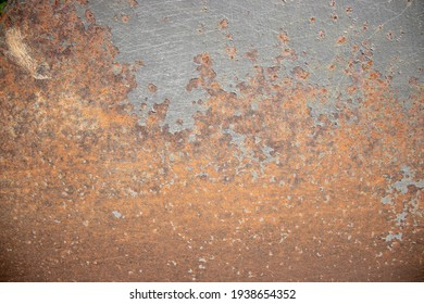 Metal background with rust corroding the bottom.