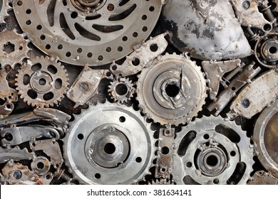 metal background from used spare parts, Scraps part, metal gears, car, auto, motorcycle