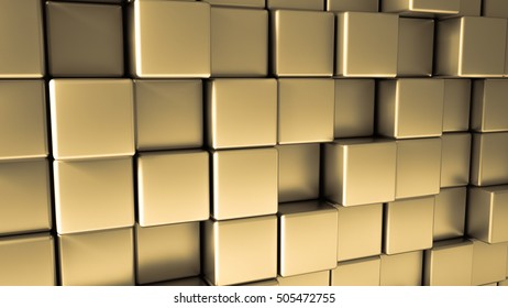 Metal background with yellow glossy cubes, 3d illustration, 3d rendering.