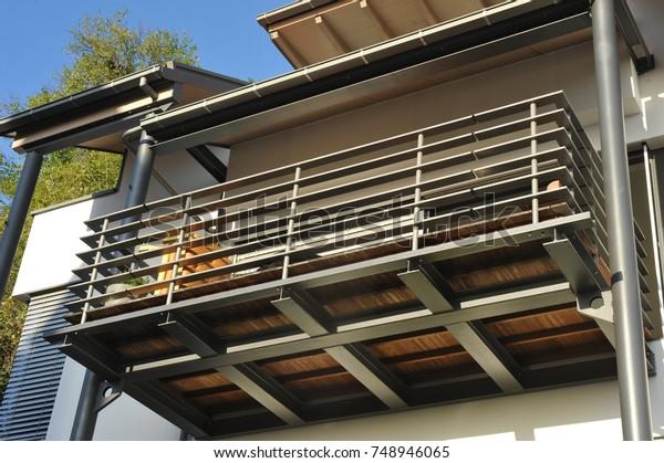 Metal Balcony Handrails Steel Roof Rain Buildings Landmarks Stock Image 748946065