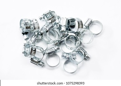 Metal band hose clamp isolated on white background