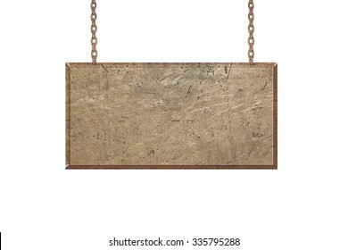 Metal Banners hanging ,isolated on white background, with clipping path