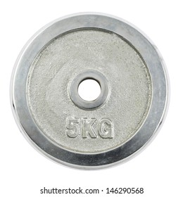 Metal barbell 5 kilogram plate isolated over white background
