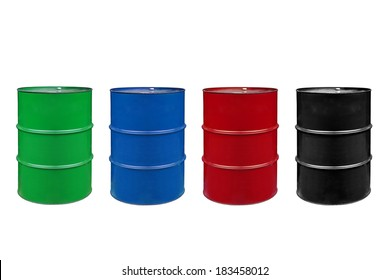 metal barrels of colors color