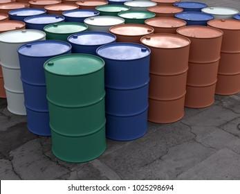 metal barrels in storage, 3d illustration