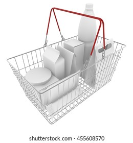 Metal basket with white empty boxes, packages and bottle for food and drinks on an isolated white background. 3D illustration
