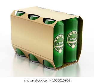Metal beer cans in a 6 pack package. 3D illustration.