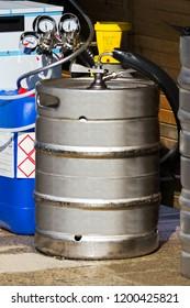 metal beer keg  container  working  in street festival
