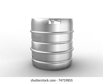 Metal beer keg isolated on white