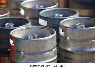 Metal beer kegs at brewery.