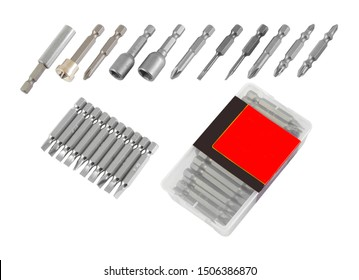 Metal bits for screwdriver. Tool set for household use. Nozzles and adapters for screwdrivers. Head different size hex driver.