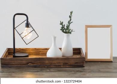 metal black lamp in white interior