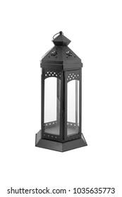 Metal black lantern isolated on white