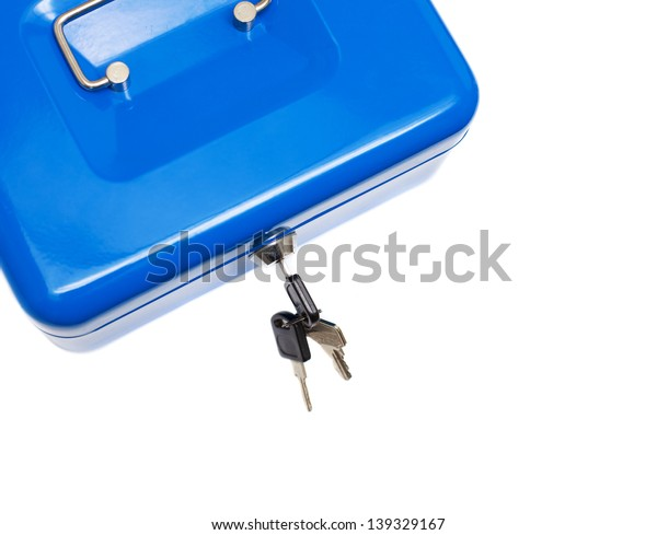 metal blue safe box isolated over white background