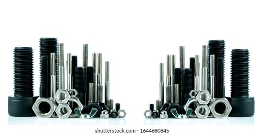 Metal bolts and nuts on white background. Fasteners equipment. Hardware tools. Stud bolt, hex nuts, and hex head bolts in workshop. Threaded fastener use in automotive engineering. Hexagonal bolt. - Shutterstock ID 1644680845
