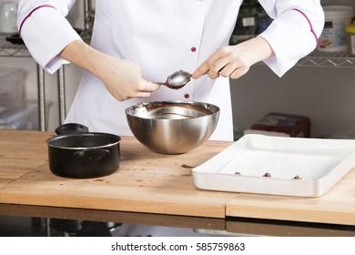 metal bowl and chocolate