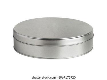 Metal box. Metal round tin with cover. Round metallic box on white background. Clipping Path.