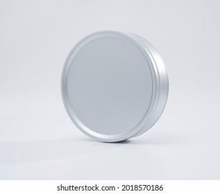 Metal box. Metal round tin with cover. Round metallic box on white background. High quality image