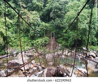 Metal bridge on the way to Double Decker Root Bridge over Umshiang river, Cherrapunjee, Meghalaya, India