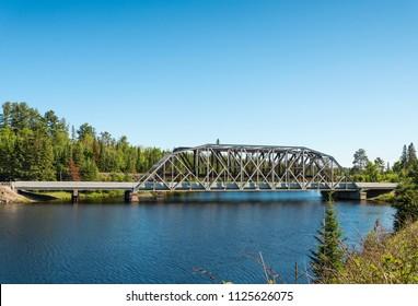 Metal bridge over Spanish River in northern Ontario