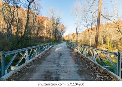 Metal Bridge Overtop the River in BeeTree Preserve in Parkton, Maryland